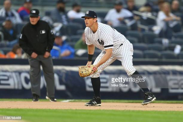 LeMahieu of the New York Yankees in action against the Kansas City Royals at Yankee Stadium on April 19, 2019 in New York City. New York Yankees...