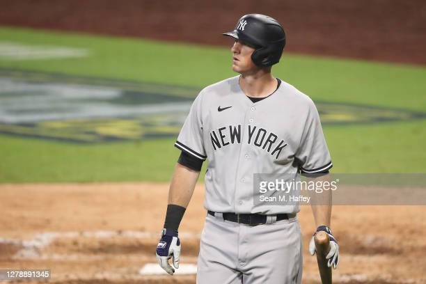 LeMahieu of the New York Yankees reacts after striking out against the Tampa Bay Rays during the seventh inning in Game Two of the American League...