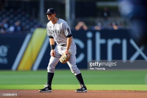 LeMahieu of the New York Yankees stands ready at second base during Game 5 of the ALDS between the New York Yankees and the Tampa Bay Rays at Petco...