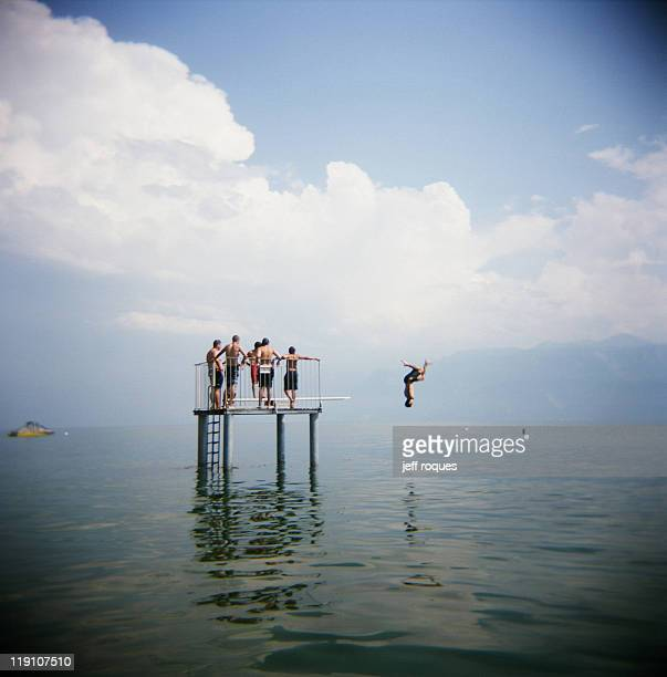 leman dive - vaud canton stock photos and pictures
