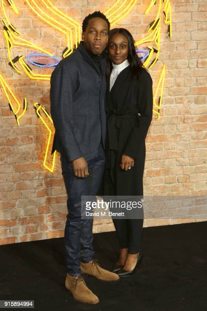 Lemar and Charmaine Powell attend the European Premiere of 'Black Panther' at the Eventim Apollo on February 8 2018 in London England