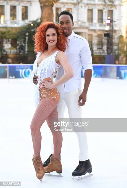 Lemar and Melody Le Moal attend the Dancing On Ice 2018 photocall held at Natural History Museum Ice Rink on December 19 2017 in London England