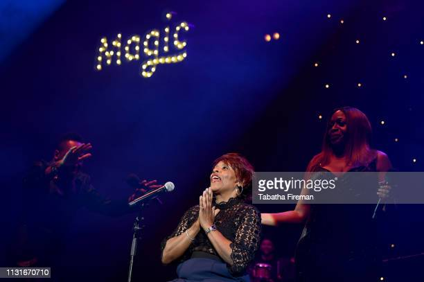 Lemar, Gwen Dickey and Angie Greaves on stage during Magic Soul Live at Eventim Apollo, Hammersmith on February 23, 2019 in London, England.