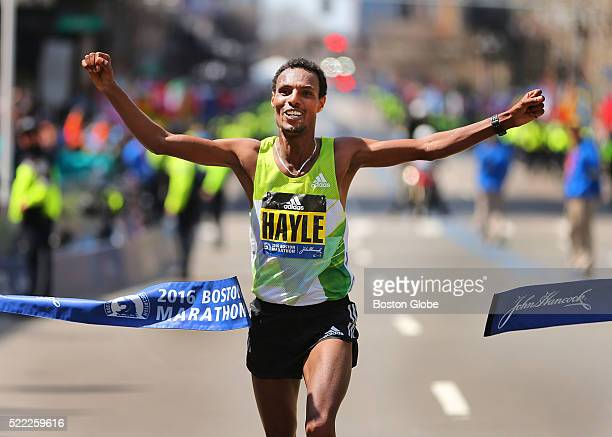 Lemi Berhanu Hayle of Ethiopia crosses the finish line to win the mens race in the 120th Boston Marathon on Monday April 18 2016