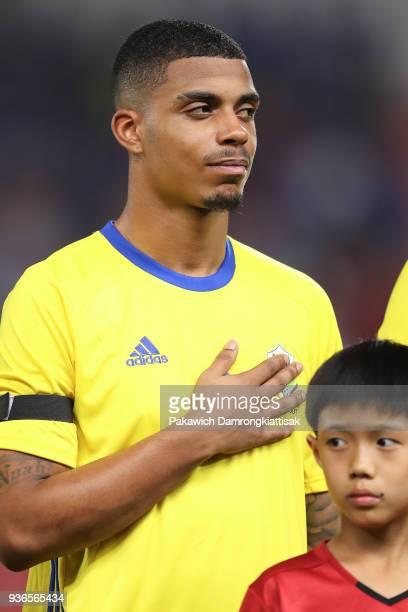 Lemina Mario Rene Junior of Gabon in action during the international friendly match between Thailand and Gabon at Rajamangala National Stadium on...