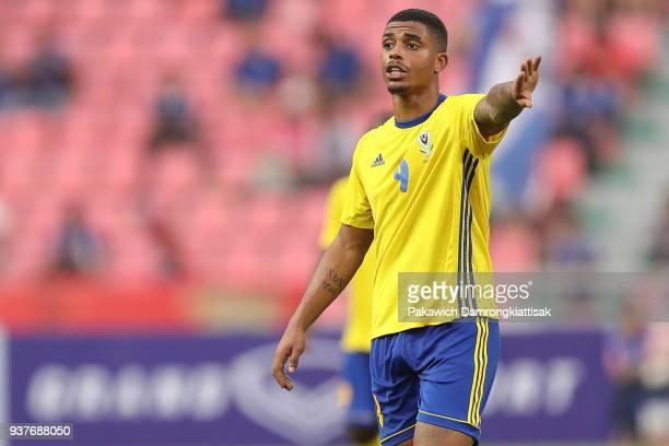 Lemina Mario Rene Junior of Gabon reacts during the international friendly match between United Arab Emirates and Gabon at Rajamangala National...