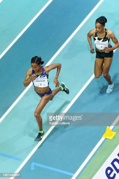 Lemlem Hailu , Beatrice Chepkoech compete during Women's 3000m during the World Athletics Indoor Tour at Arena Stade Couvert on February 9, 2021 in...
