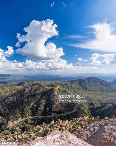 mt lemmon view with developing monsoon clouds, arizona - mt lemmon stock photos and pictures