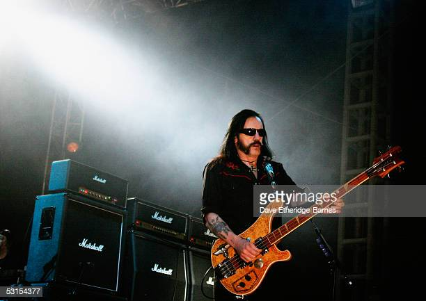 Lemmy Kilminster of Motorhead performs on stage on June 12th 2005 at day three of the Download Festival in Donington Park England