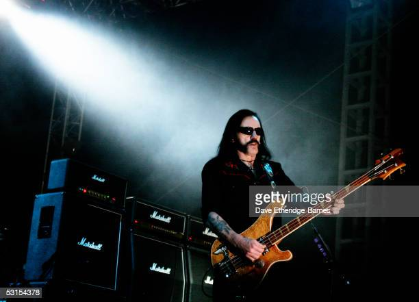 Lemmy Kilminster of Motorhead performs on stage on June 12th, 2005 at day three of the Download Festival, in Donington Park England.