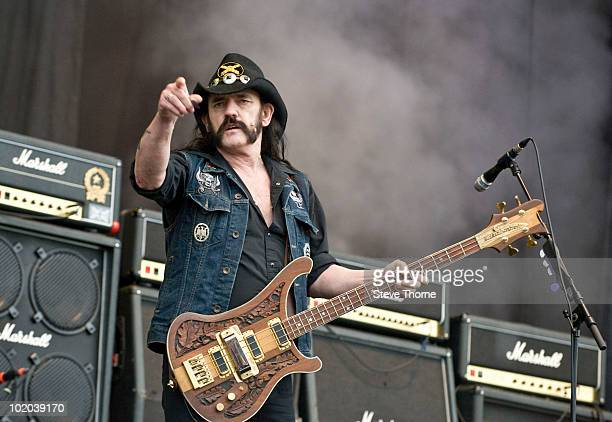 Lemmy Kilminster of Motorhead performs on stage on the last day of Download Festival at Donington Park on June 13, 2010 in Castle Donington, England.