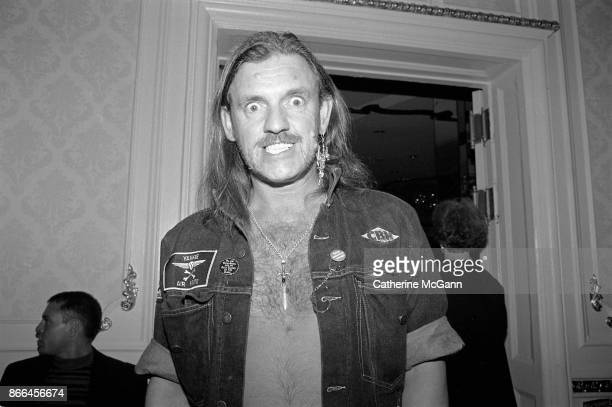 Lemmy Kilmister of heavy metal band Motorhead poses for a portrait at a Grammy Awards party in February 1992 in New York City.