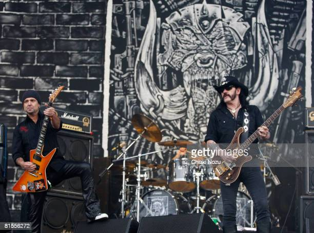 Lemmy Kilmister of Motorhead performs at Day 1 of the Download Festival at Castle Donington on June 13 2008 in Donington England