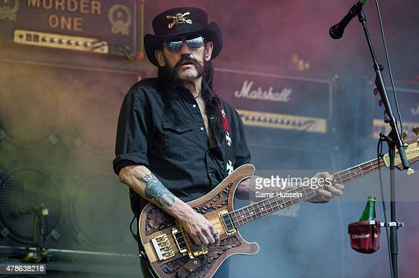 Lemmy Kilmister of Motorhead performs at the Glastonbury Festival at Worthy Farm Pilton on June 26 2015 in Glastonbury England