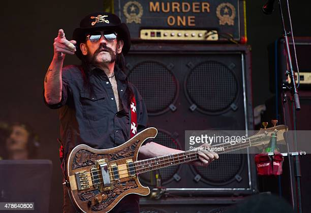 Lemmy Kilmister of Motorhead performs at the Glastonbury Festival at Worthy Farm Pilton on June 26 2015 in Glastonbury England