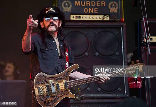 Lemmy Kilmister of Motorhead performs at the Glastonbury Festival at Worthy Farm, Pilton on June 26, 2015 in Glastonbury, England.