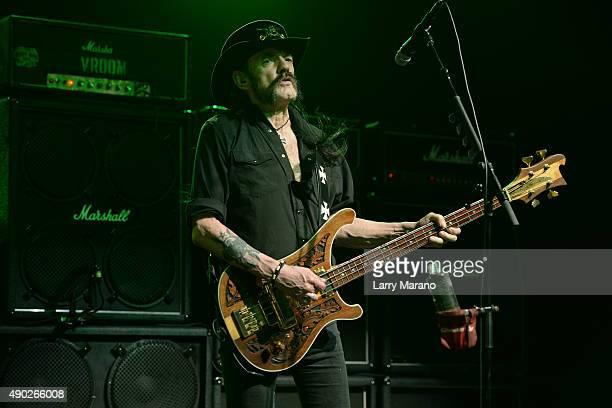 Lemmy Kilmister of Motorhead performs at The Pompano Beach Amphitheater on September 26 2015 in Pompano Beach Florida
