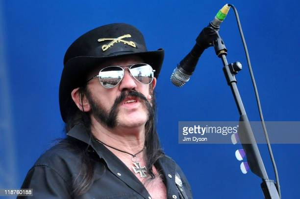 Lemmy Kilmister of Motorhead performs live on stage during the third day of the Sonisphere Rock Festival at Knebworth House on July 10 2011 in...