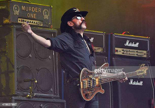 Lemmy Kilmister of Motorhead performs live on the Pyramid stage during the first day of the Glastonbury Festival at Worthy Farm, Pilton on June 26,...
