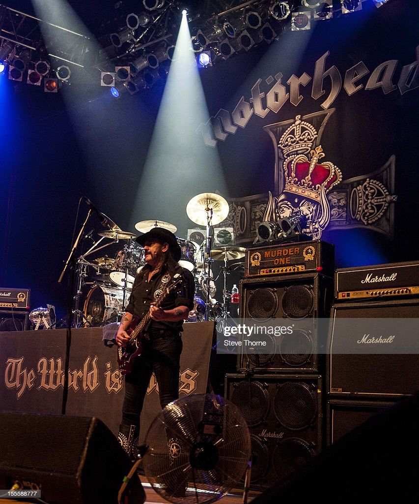 Lemmy Kilmister of Motorhead performs on stage at Wolverhampton Civic Hall on November 5, 2012 in Wolverhampton, United Kingdom.