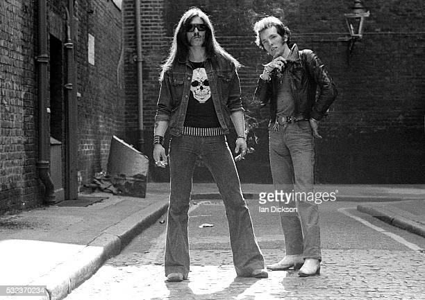Lemmy Lucas Fox of Motorhead group portrait of original line up Covent Garden London United Kingdom June 1975
