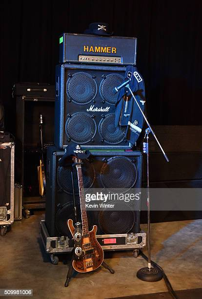 Lemmy of Motorhead memorabilia is displayed onstage during the Hollywood Vampires rehearsals for the 58th GRAMMY Awards on February 11 2016 in Los...