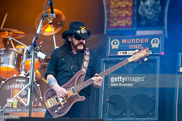 Lemmy of Motorhead performs on stage at Hellfest Festival on June 20 2010 in Clisson France