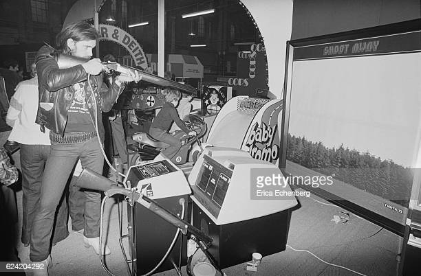 Lemmy of Motorhead pictured at a gaming exhibition, London, United Kingdom, June 1985.
