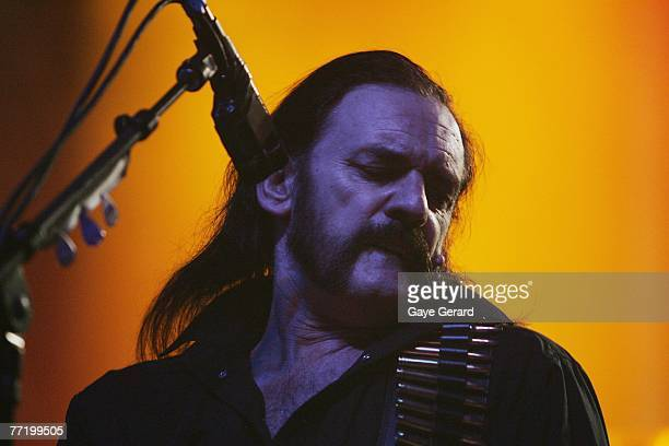 Lemmy of the UK rock band Motorhead performs on stage in concert at the Enmore Theatre October 5 2007 in Sydney Australia The band last played in...