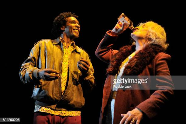Lemn Sissay as Scullery and June Watson as Molly in Jim Cartwright's Road directed by John Tiffany at the Royal Court Theatre on July 26 2017 in...