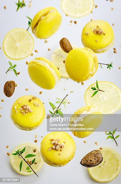 Lemon and almond macarons