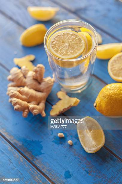 lemon and ginger root infused water - infused water stock pictures, royalty-free photos & images