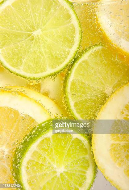 lemon and limes in fizzy water
