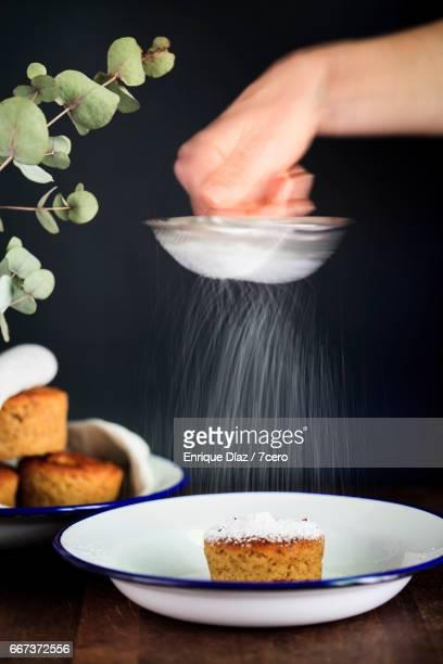 Lemon and Mango yoghurt cake with icing sugar