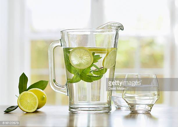 Lemon and mint in a jug of water