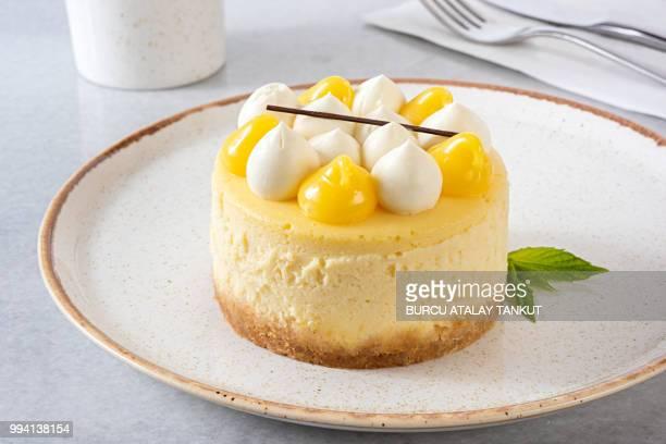 lemon cheesecake - dessert stock-fotos und bilder