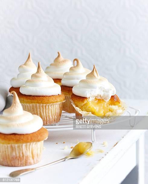 lemon cupcake meringues - meringue stock pictures, royalty-free photos & images