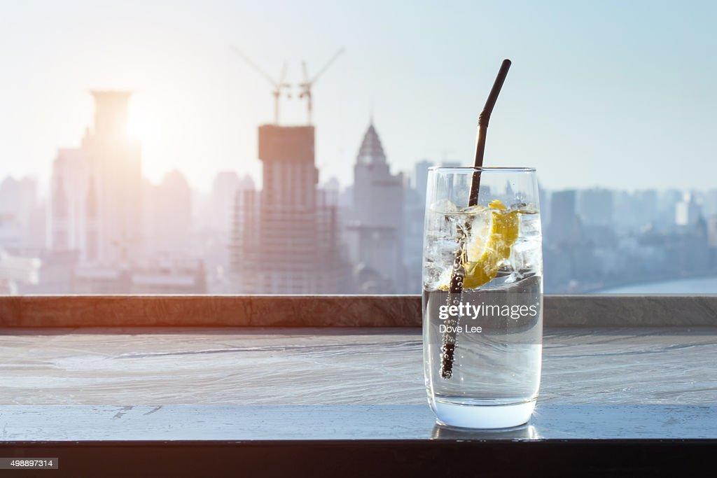 Lemon drinks with city background : Stock Photo