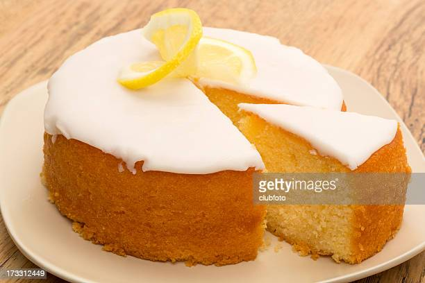 lemon drizzle cake - sponge cake stock pictures, royalty-free photos & images