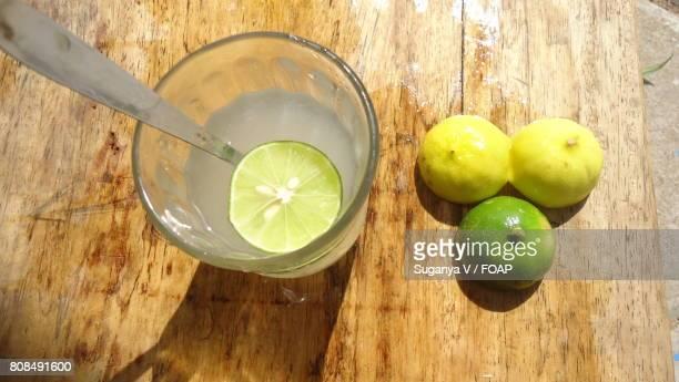 Lemon juice on table