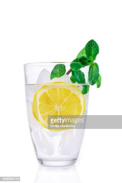 Lemon juice with fresh mint leaf