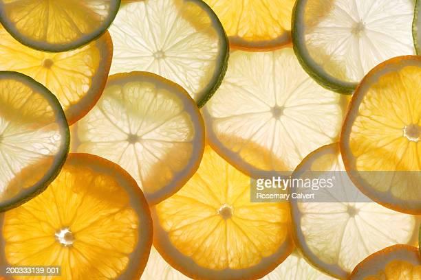 Lemon, lime and orange slices, close-up