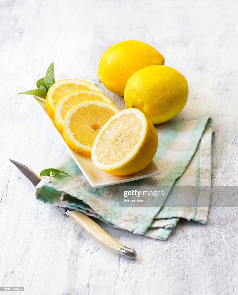 Lemon on white wooden table. : Stock Photo