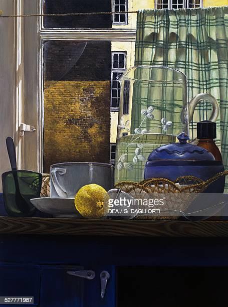 Lemon painting by Niels Christian Strobek oil and tempera on board 50x36 cm Denmark 20th century Aarhus Kunstmuseum