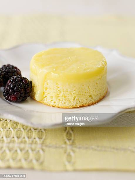 Lemon pudding cake, close-up