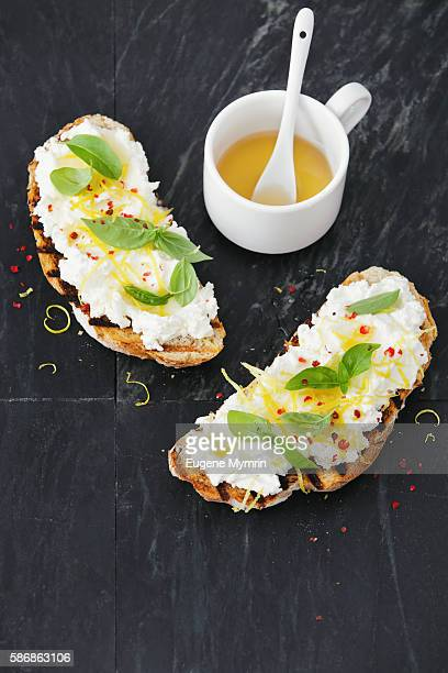 Lemon, ricotta, basil and honey bruschetta