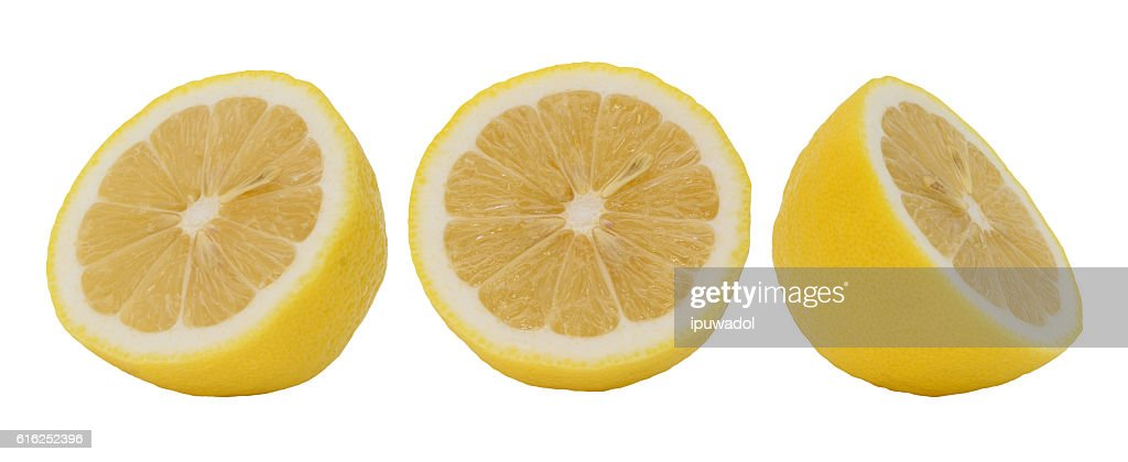 Lemon slice isolated on white collection : Foto de stock