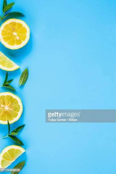 lemon slices and mint - vegetais - fotografias e filmes do acervo