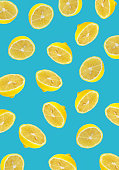 lemon slices blue background