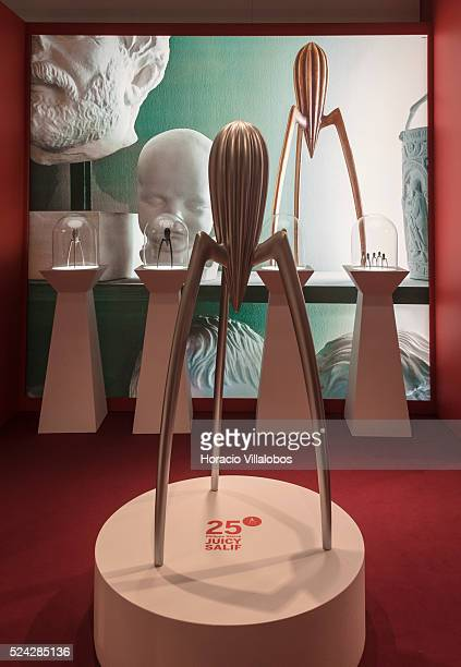 Lemon squeezer 'Juicy Salif' by Philippe Starck an icon of industrial design at Alessi stand in Ambiente 2015 Frankfurt Germany 15 February 2015...